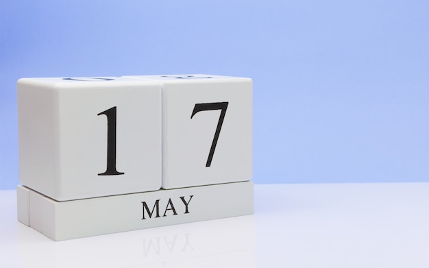 May 17st. day 17 of month, daily calendar on white table