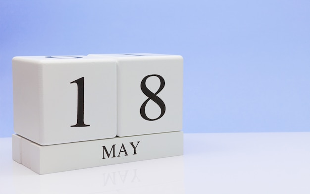 May 18st. day 18 of month, daily calendar on white table