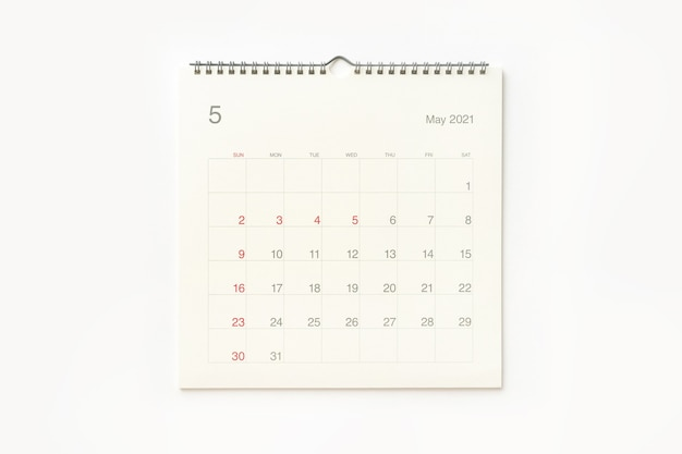 May 2021 calendar page on white background. calendar background for reminder, business planning, appointment meeting and event.