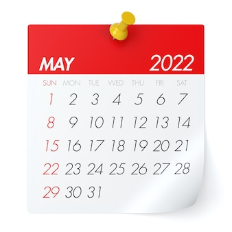 May 2022 - calendar. isolated on white background. 3d illustration