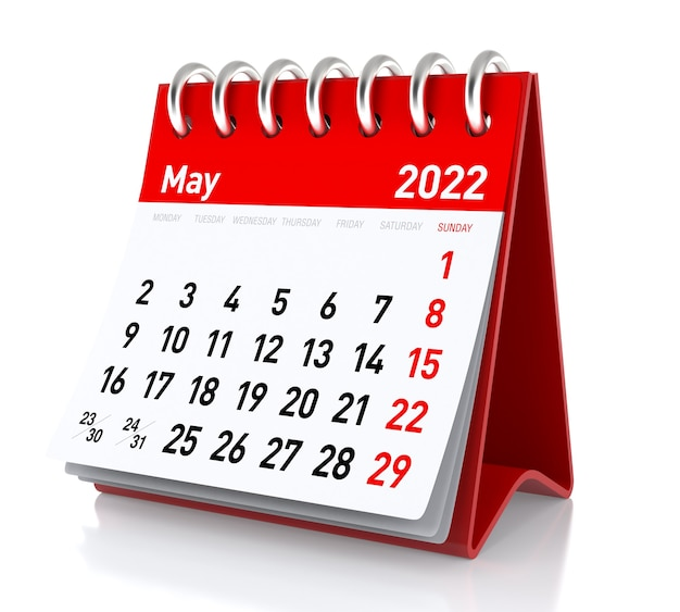 May 2022 calendar. isolated on white background. 3d illustration