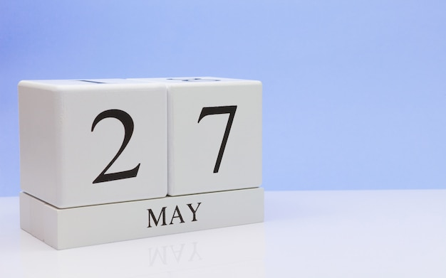 May 27st. day 27 of month, daily calendar on white table