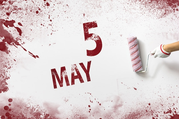 May 5th. day 5 of month, calendar date. the hand holds a roller with red paint and writes a calendar date on a white background. spring month, day of the year concept.