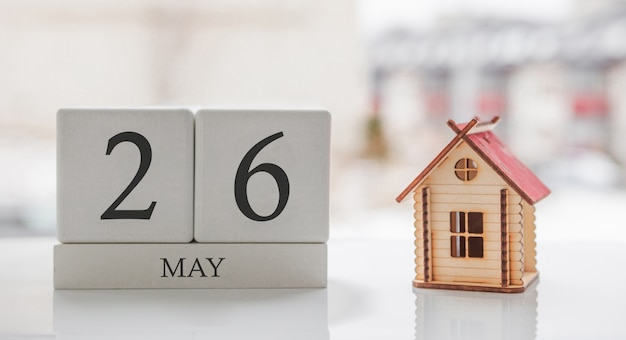 May calendar and toy home. day 26 of month. card message for print or remember