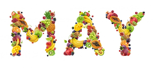 May word made of different fruits and berries