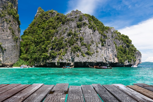 Maya bay in the phiphi leh island at andaman sea landscape.