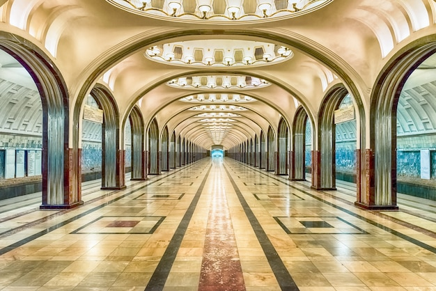 Mayakovskaya subway station in moscow, russia