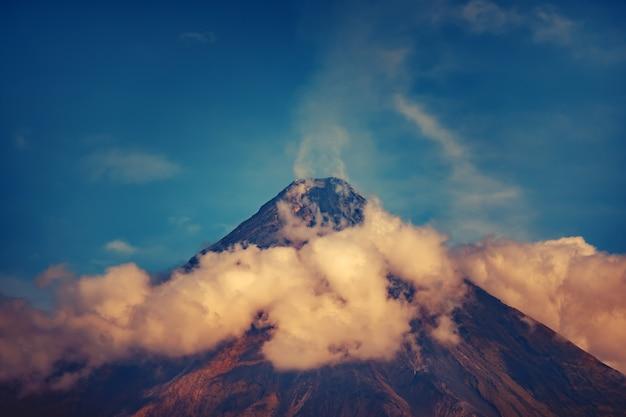 Mayon active volcano on luzon island philippines
