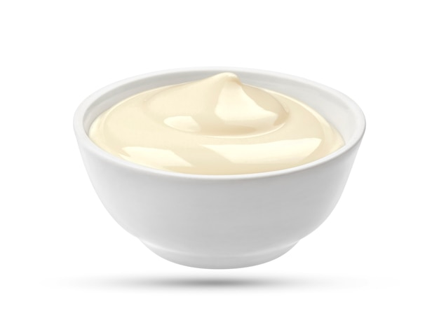 Mayonnaise bowl on white surface