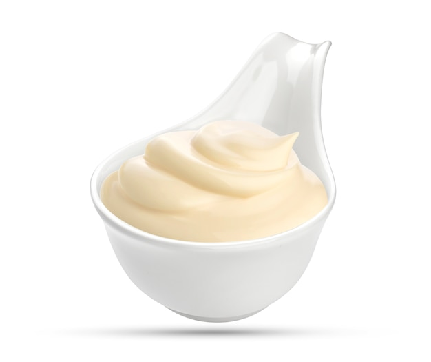 Mayonnaise sauce in bowl isolated on white