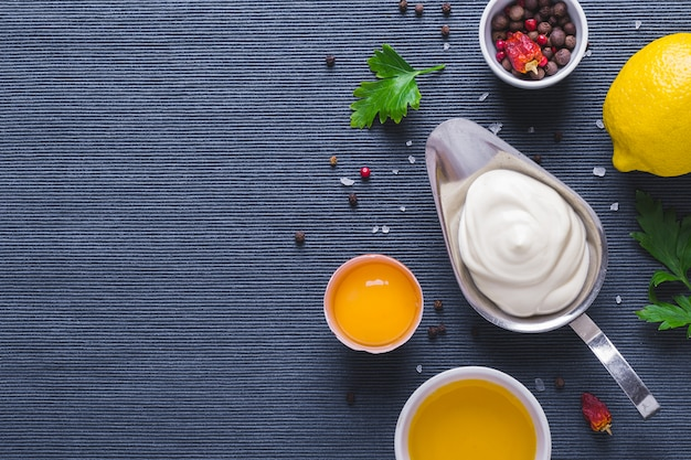 Mayonnaise sauce and ingredients