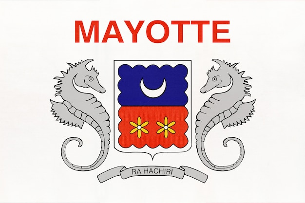 Mayotte island national fabric flag, textile background. symbol of international world african country.