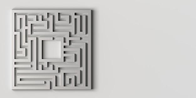 Лабиринт на белом фоне 3d иллюстрации. баннер.