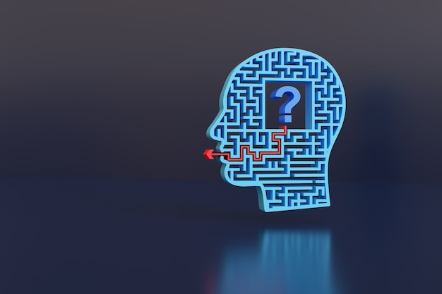 Maze-shaped head with a question mark inside.