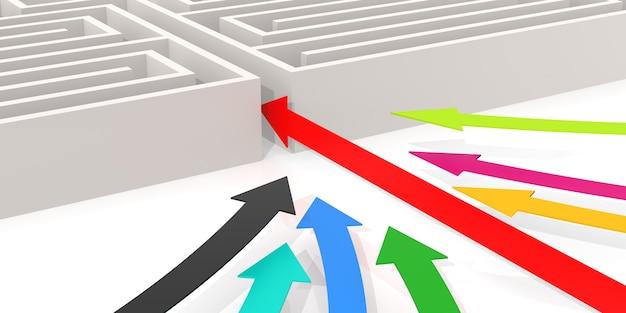 Лабиринт со стрелой. компьютерная графика для бизнес-концепции