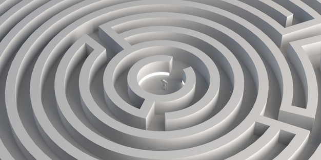 Maze with person in the center. winner. 3d illustration. banner.