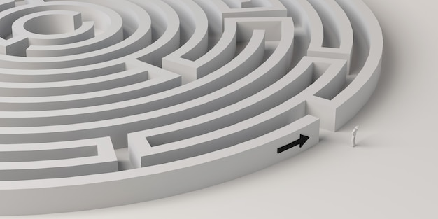 Maze with person at the entrance and arrow pointing the way. 3d illustration. banner.