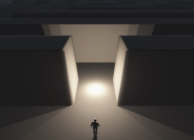3d визуализации мужской фигуры стояли перед лабиринтом