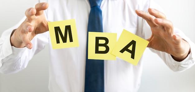 Mba 약어 비문. 경영학 개념, 교육의 마스터.