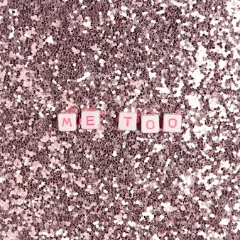 Me too beads text typography on pink pastel
