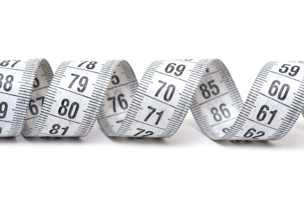 Measuring tape or tape measure tailor isolated on white background