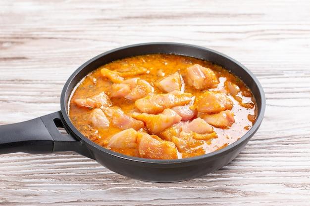 鍋に肉とカレーソース。チキンカラヒ