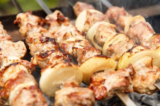 꼬치에 꽂힌 고기와 양파가 숯불에 구워지고 있다. 바베큐에서 시시 케밥 요리. 피크닉, 길거리 음식. 선택적 초점