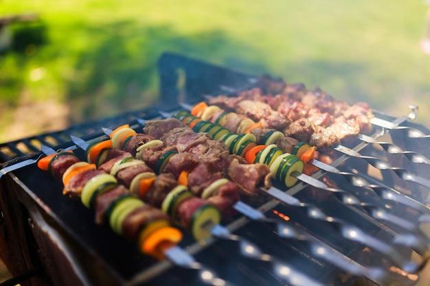 자연에서 그릴에 고기와 야채 꼬치