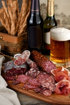 A meat appetizer is a great idea for a beer.