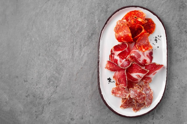 Meat appetizer plate, assortment of antipasti meat, jamon, chorizo, pepperoni, prosciutto meat appetizer plate, assortment of antipasti meat, jamon, chorizo