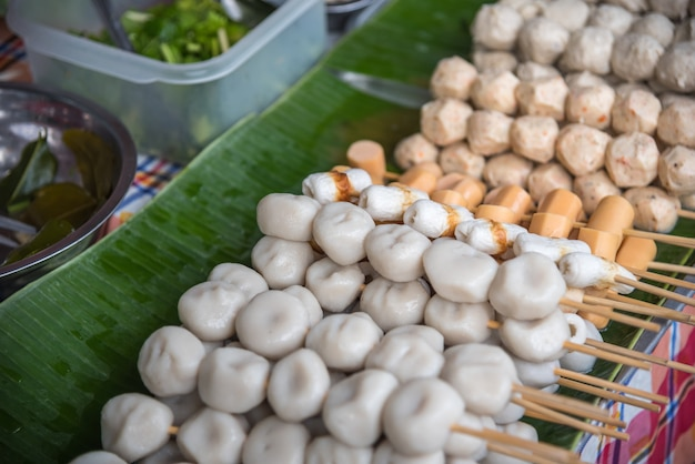 Meat ball variety type of meat (beef, pork and fish) for sale at thai street food