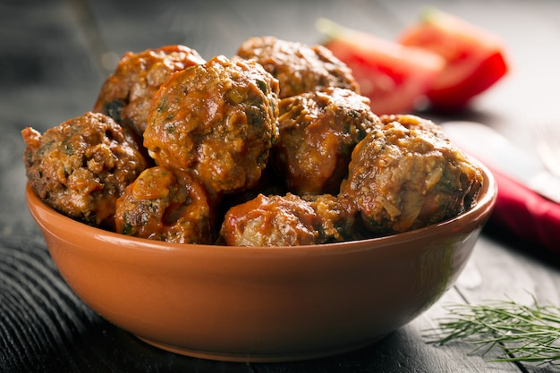 Meat balls in a tomato sauce