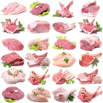 白い背景の上の肉コレクション