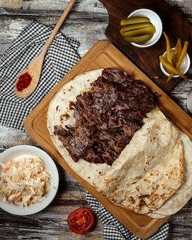 Meat doner in lavash top view