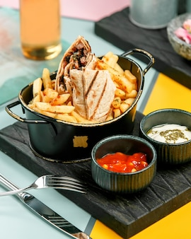 Meat doner in lavash with french fries