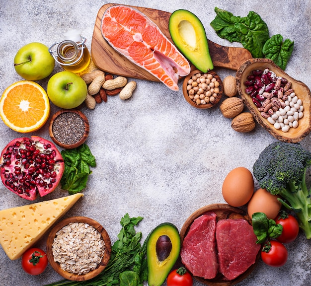 Meat, fish, legumes, nuts and vegetables.
