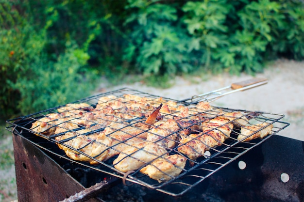 Meat is fried at the stake. the kebabs fry on the grill.