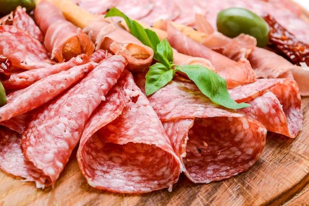 Meat plate with salami sausage, chorizo, parma