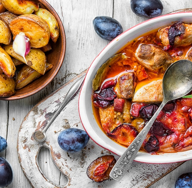 Meat in plum sauce