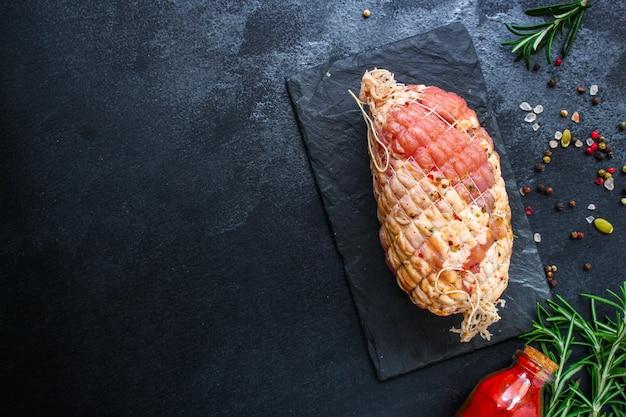 Meat pork in roasting net