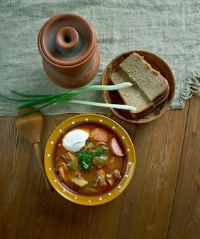 Мясная селянка густая, остро-кисло-русский суп