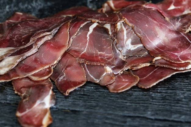 Meat in slices dried
