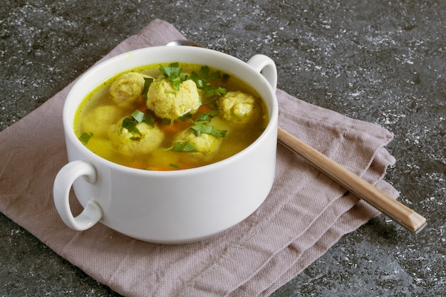Meat soup with meatballs