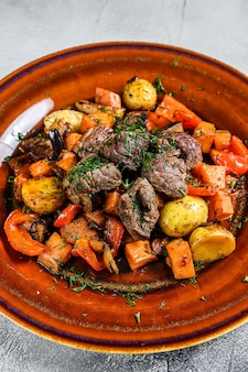 Meat stew, goulash on a plate
