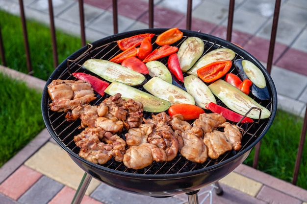 Meat and vegetables barbecue
