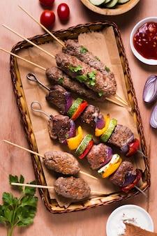 Meat and veggies on skewers