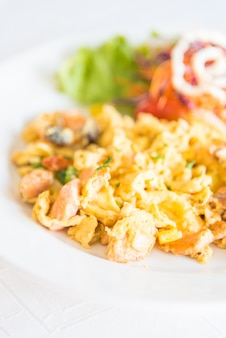 Meat white background egg meal