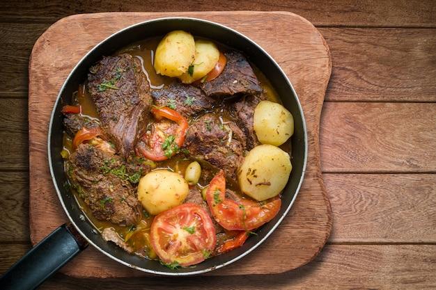 Мясо с картофелем на сковороде
