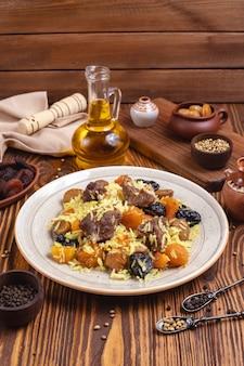 米ドライフルーツプルーン栗スパイスオイル側面図と肉