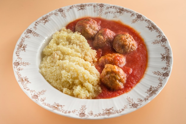 Meatballs with typical moroccan couscous